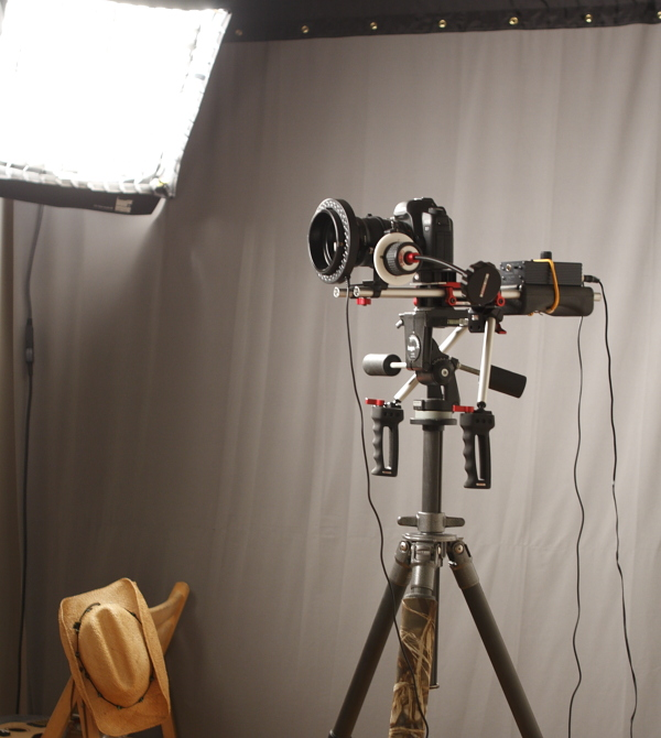 Canon 5D Mark II on Zacuto DSLR Indie Rig Minus Counterweight.